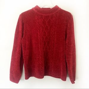 Chenille Cable Knit Sweater Red Mock Neck Medium